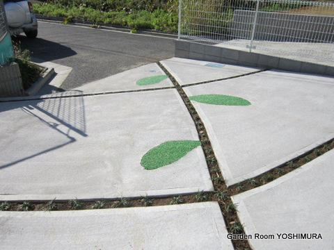 つくば市 シンプルで単調な駐車スペースもデザインの工夫で個性的に。