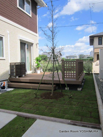 つくば市 K様邸 緑豊かなウッドデッキのある庭