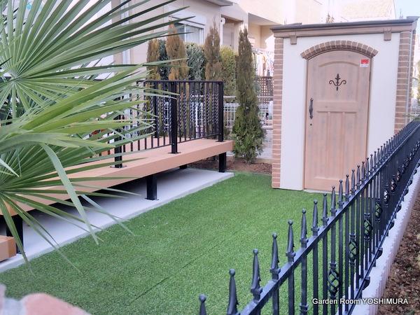 かわいい洋風クローズ外構と庭 つくば市